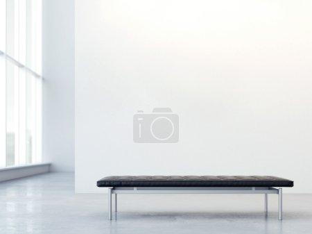 Foto de Entrenador de cuero negro en un interior moderno con la pared. Render 3D - Imagen libre de derechos