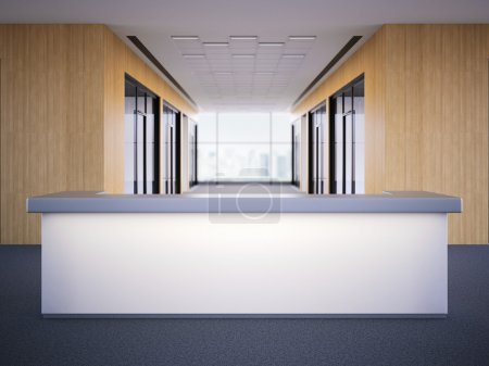 Office lobby with a reception desk. 3d rendering