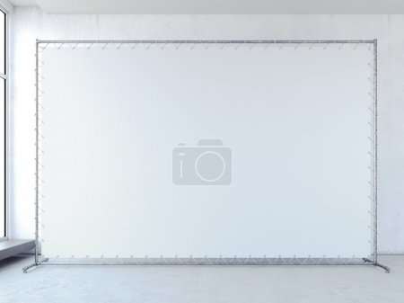 White banner in bright interior. 3d rendering