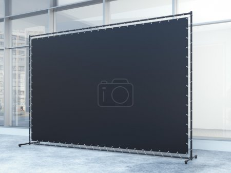 Black banner in the building with windows. 3d rendering