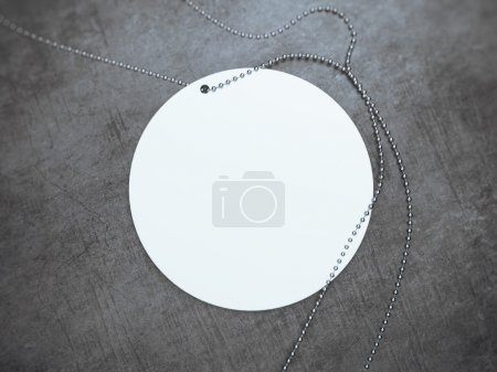 White round tag with silver chain. 3d rendering