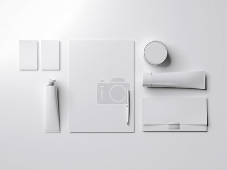 White mock up with paint tube. 3d rendering