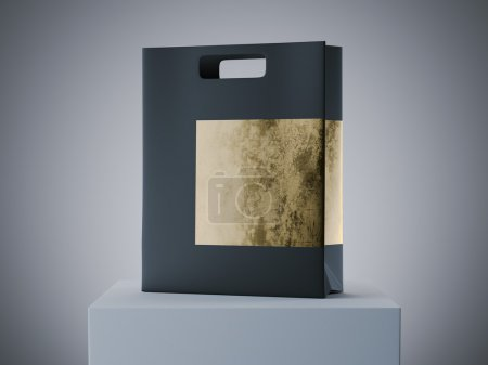 Photo for Black and gold shopping bag on white podium. 3d rendering - Royalty Free Image