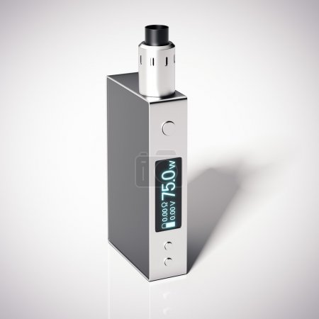 Box mod e-cigarette with rebuildable dripping atomizer. 3d rendering