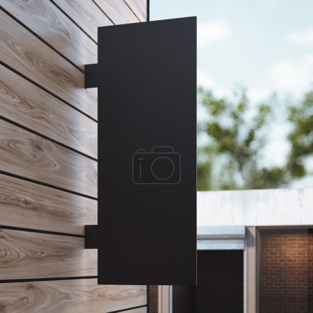 Black signboard on the wall. 3d rendering