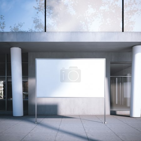 White billboard on the street. 3d rendering