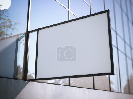 White signboard on the office building. 3d rendering