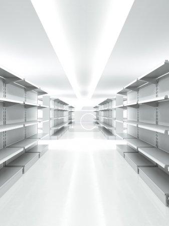 Photo pour Metal retail vide les tablettes en marché. rendu 3D - image libre de droit