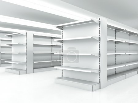 white clean shelves