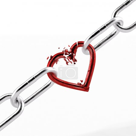 Photo for Broken chain with red heart element isolated on a white background. 3d render - Royalty Free Image