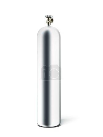 Photo pour Bouteille de propane argent isolé sur fond blanc. rendu 3D - image libre de droit