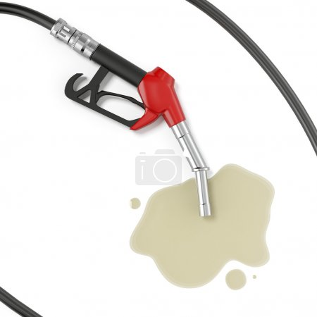 Red gasoline pump with oil