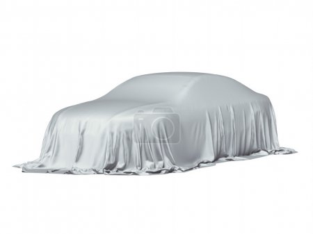 Car covered with a grey cloth