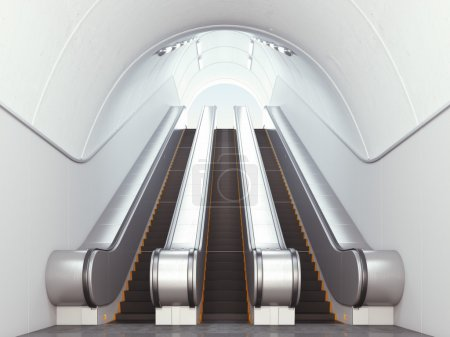 Empty long escalators