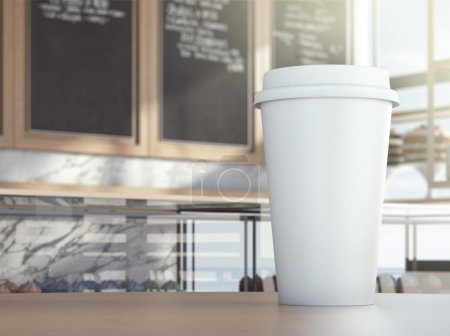 Photo for White cup on cafe table, 3d rendering - Royalty Free Image