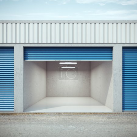 Photo for Empty storage unit with opened door. 3d rendering - Royalty Free Image