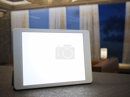 Digital tablet with blank screen. 3d rendering