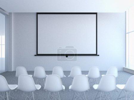 Photo pour Salle de conférence avec écran projecteur vierge. Rendu 3d - image libre de droit
