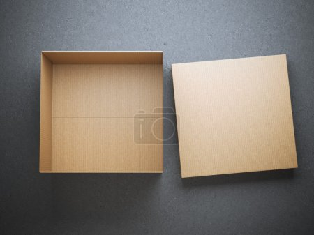 Opened cardboard box with cap