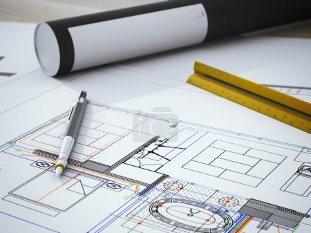 Photo pour Plan avec stylo sur la table en bois - image libre de droit