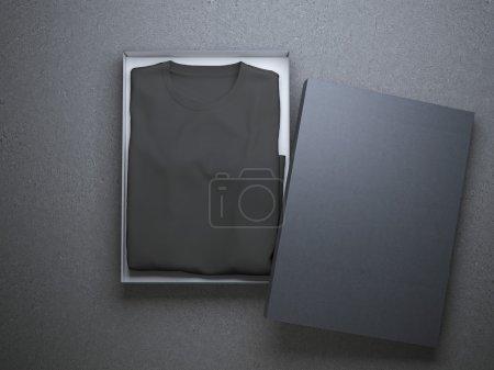 Black t-shirt in a nice cardboard packaging
