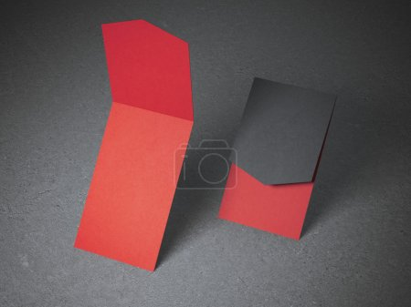 Two opened red business cards