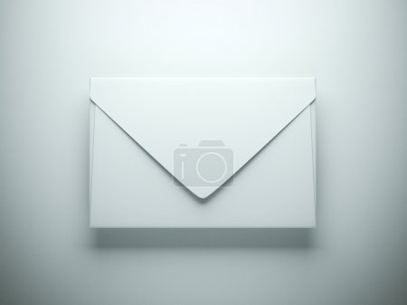 White envelope in gray studio