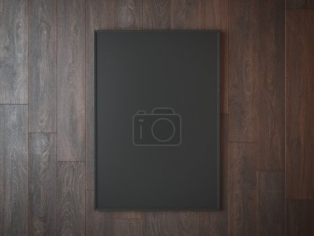 Black picture frame on wooden wall