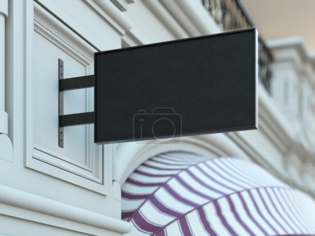Photo for Square black signboard on the old fashioned building. 3d rendering - Royalty Free Image