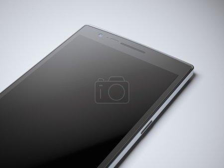 Modern black smartphone in studio