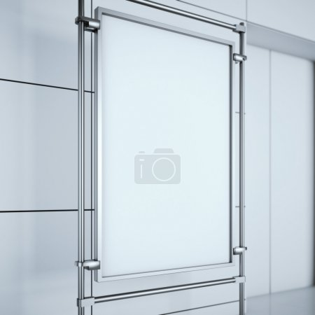 Blank advertising stand in the office interior. 3d rendering