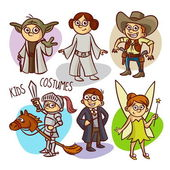 Character Kids Costumes Vector Illustration
