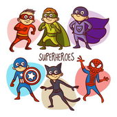 Superheroes Kids Vector Illustartion