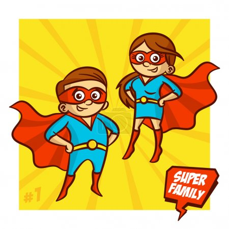 Illustration for Super Family. Mother and Father Superheroes. Vector Illustartion Clipart - Royalty Free Image