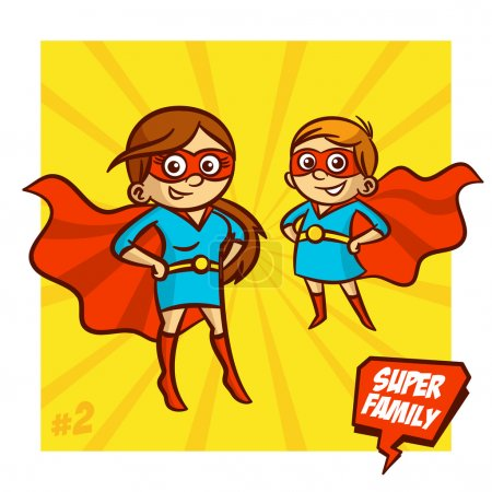 Illustration for Super Family. Mother and Daughter Superheroes. Vector Illustartion Clipart - Royalty Free Image