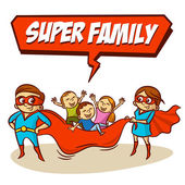 Super Family Father Mother Daughter Son Superheroes Set Clipart