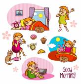 Good Morning collection Girl Coffee Alarm clock