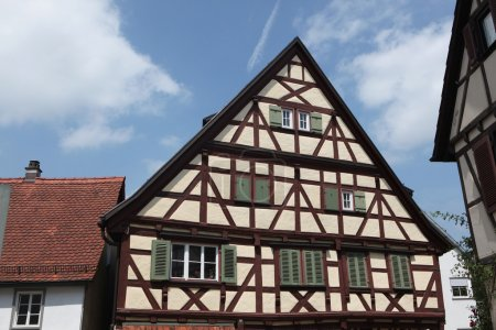 Traditional medieval half-timbered houses