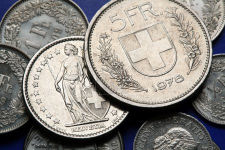 Coins of Switzerland. Coat of arms of Switzerland ...