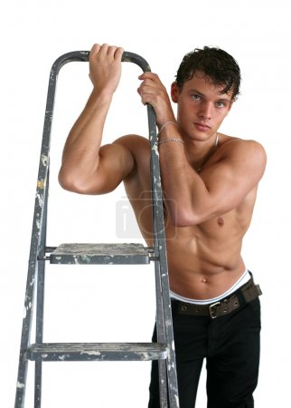 Young Muscular Man with Stepladder