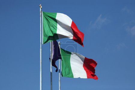 Photo pour National flags of Italy and a flag of the European Union. - image libre de droit