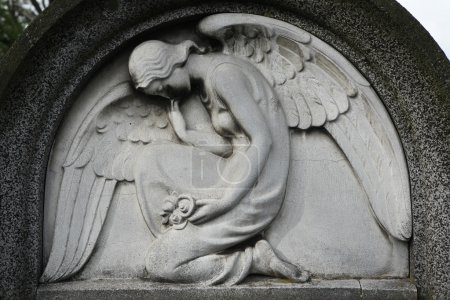 Mourning angel at the cemetery.