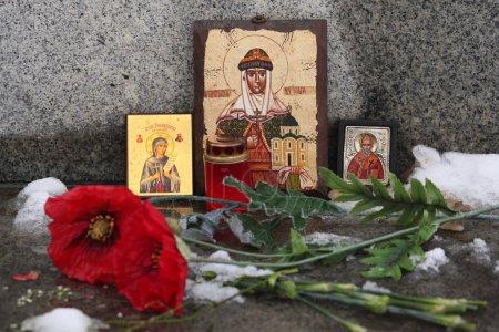 Russian orthodox icons of Saint Olga and Saint Nic...