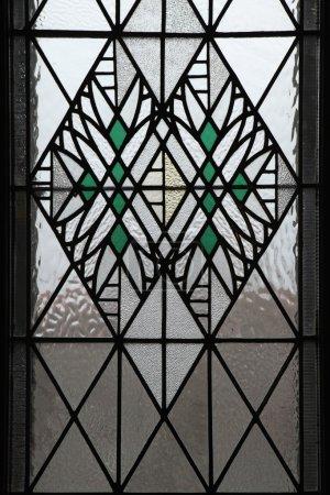Art Nouveau stained glass window in Hradec Kralove.