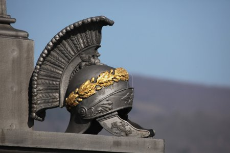 Photo for Ancient Roman helmet. Memorial to Russian soldiers fallen in the Battle of Kulm (1813) in North Bohemia, Czech Republic. - Royalty Free Image