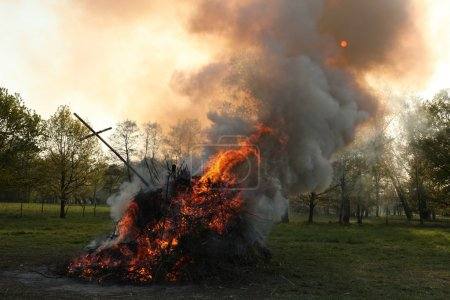 Traditional Easter bonfire in Spreewald Region, Lo...