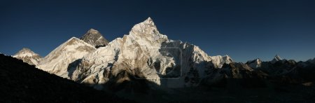 Photo for Sunset over Mount Everest (8,848 m) and Mount Nuptse (7,861 m) in Khumbu region, Himalayas, Nepal. - Royalty Free Image