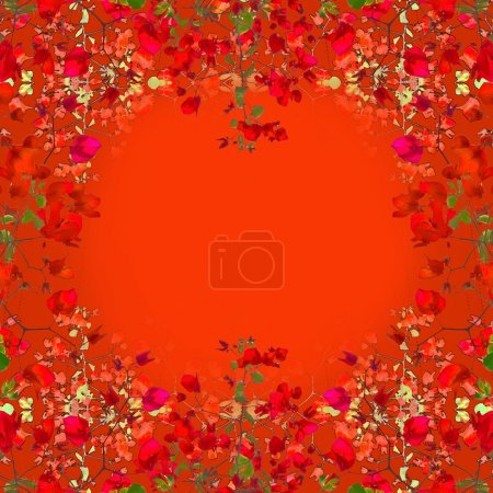Photo for Ornament square format frame background with elegant decorative borders in noveau style in orange tones. - Royalty Free Image