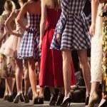 Fashion models on a runway...
