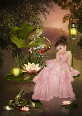 Little girl in a long pink dress, decorated with p...